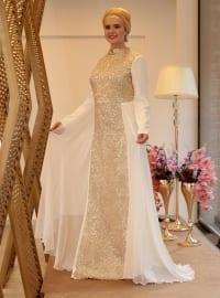 Zincir Abiye Elbise - Ekru Gold - Saliha