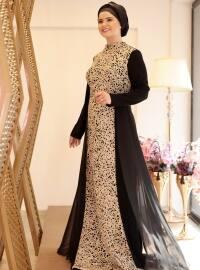 Zincir Abiye Elbise - Siyah Gold - Saliha
