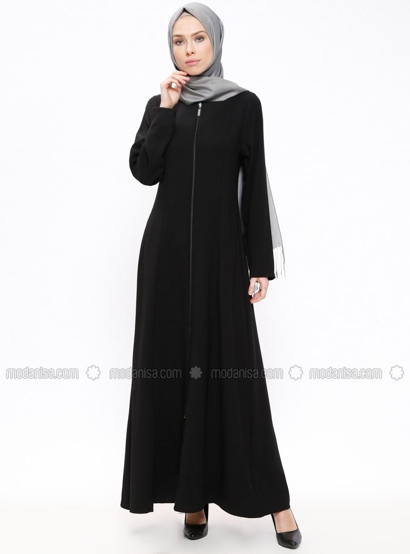 Fermuarlı Ferace - Siyah - ModaNaz