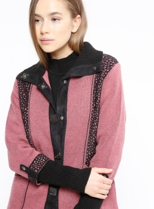 Black - Pink - Point Collar - Wool Blend - Cardigan
