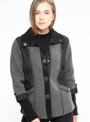 Black - Gray - Point Collar - Wool Blend - Cardigan
