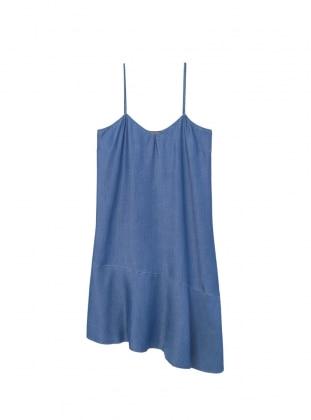 Blue - V neck Collar - Unlined - Denim - Dresses