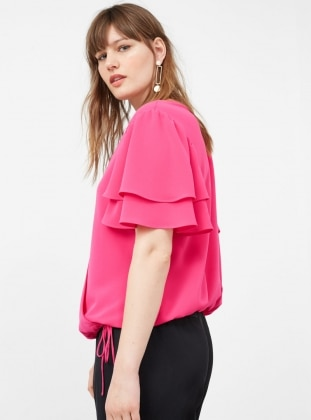 Pink - V neck Collar - Tunic