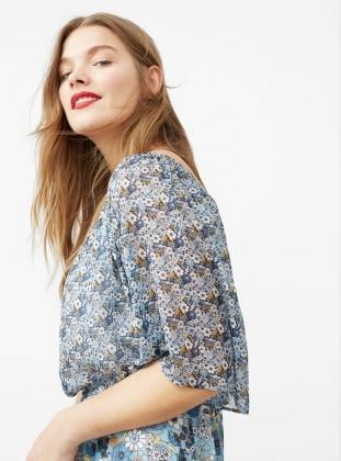 Omuzları Açık Desenli Elbise - Mavi - Mango Ürün Resmi