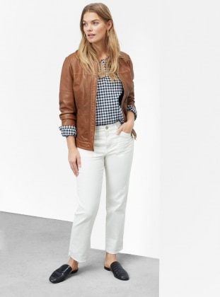 Tan - Fully Lined - Crew neck - Jacket