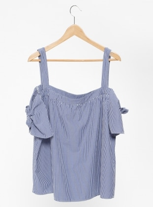 Blue - Checkered - Boat neck - Blouses