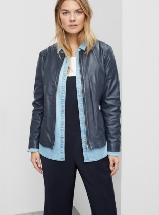 Blue - Fully Lined - Crew neck - Jacket - Violeta by Mango