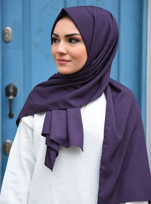 Plain - Purple - Cotton - Shawl