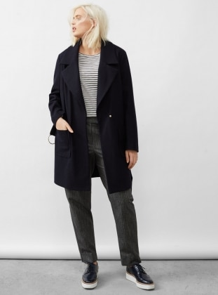 Shawl Collar - Unlined - Navy Blue - Wool Blend - Coat - Violeta by Mango