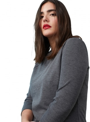 Gray - Crew neck - Fully Lined - Dresses