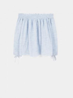 Blue - Stripe - Cotton - Blouses