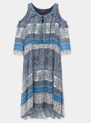 Blue - Multi - Crew neck - Fully Lined - Dresses