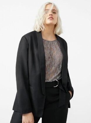 Pamuklu Keten Blazer Ceket - Siyah - Mango Ürün Resmi