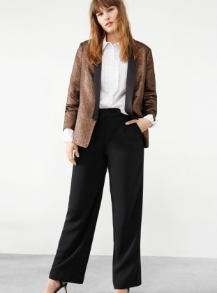 Tan - Gold - Unlined - V neck Collar - Jacket