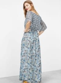 Blue - Multi - Boat neck - Fully Lined - Dresses
