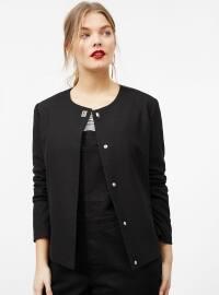 Black - Fully Lined - Crew neck - Jacket