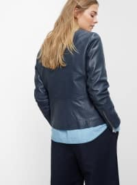 Blue - Fully Lined - Crew neck - Jacket