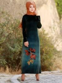 Baskılı Kadife Elbise - Zümrüt - Gamze Özkul