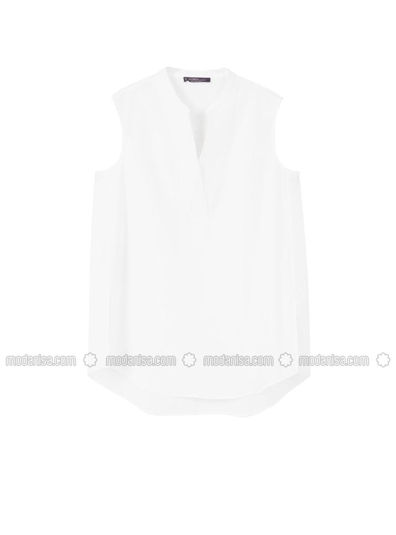 White - V neck Collar - Blouses