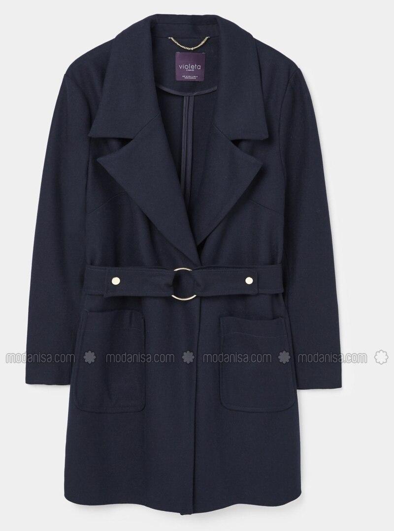 Schalkragen Ohne Innenfutter Marineblau Wollmischung Mantel