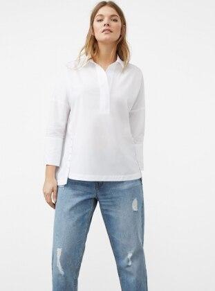 Düğmeli Koton Gömlek - Beyaz - Violeta by Mango Ürün Resmi
