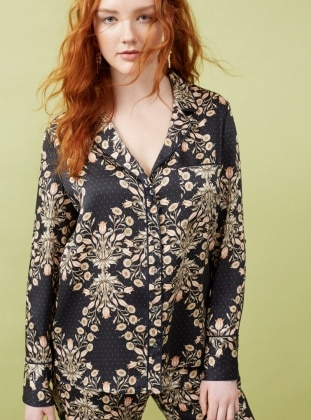 Navy Blue - Floral - Shawl Collar - Blouses