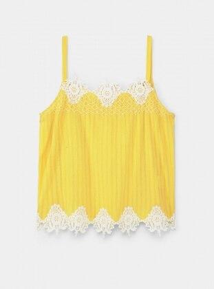 Dekoratif İşlemeli Askılı Bluz - Sarı - Violeta by Mango Ürün Resmi
