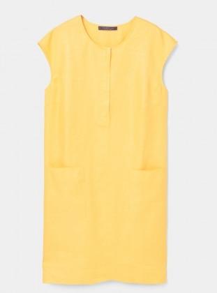 Yellow - Crew neck - Unlined - Dresses