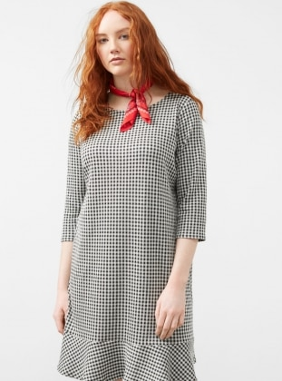 Black - Checkered - Crew neck - Unlined - Dresses