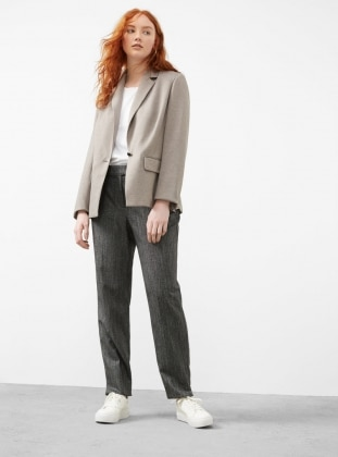 Brown - Fully Lined - Shawl Collar - Jacket - Violeta by Mango