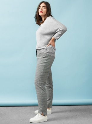 V neck Collar - Gray - Jumper - Violeta by Mango
