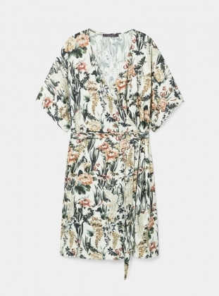 Ecru - Floral - V neck Collar - Unlined - Dresses