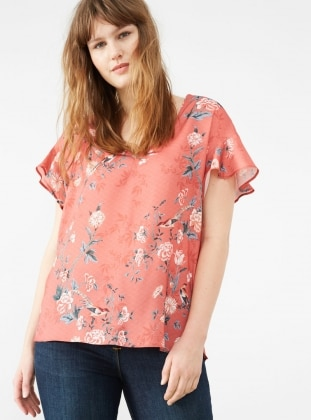Coral - Floral - V neck Collar - Tunic