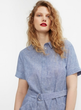 Unlined - Point Collar - Stripe - Blue - Dresses