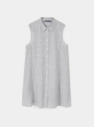Cotton - Point Collar - Stripe - Gray - Tunic