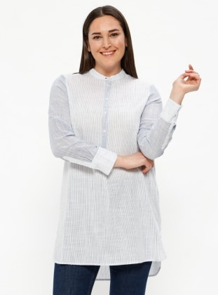 Blue - White - Stripe - Button Collar - Cotton - Plus Size Tunic