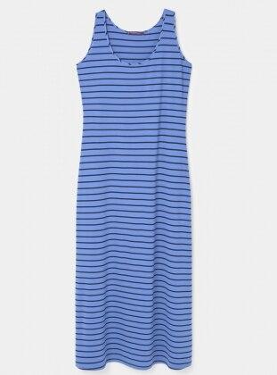 Çizgili Uzun Elbise - Açık Mavi - Violeta by Mango Ürün Resmi