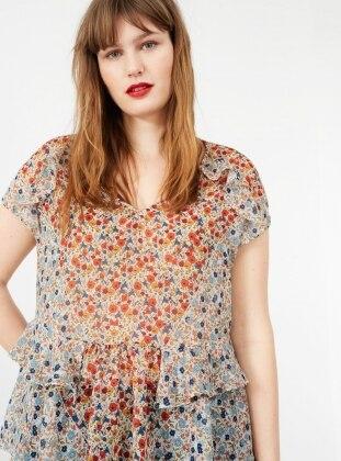 Desenli Fırfırlı Bluz - Somon - Violeta by Mango Ürün Resmi