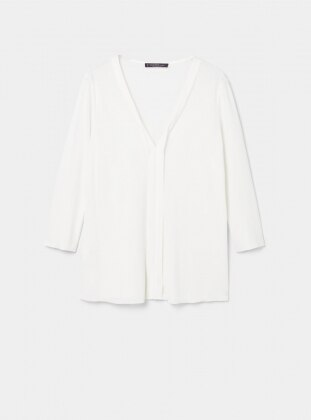 White - Ecru - V neck Collar - Blouses