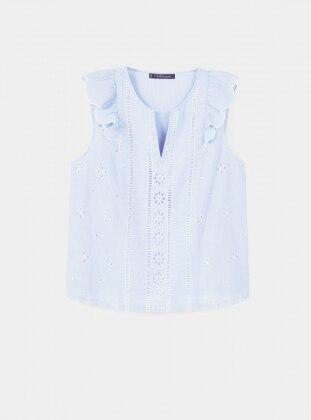 Fırfırlı Çizgili Bluz - Mavi - Violeta by Mango Ürün Resmi