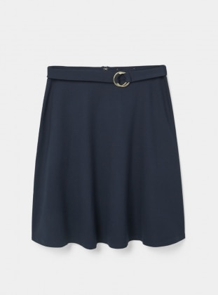 Unlined - Navy Blue - Skirt - Violeta by Mango
