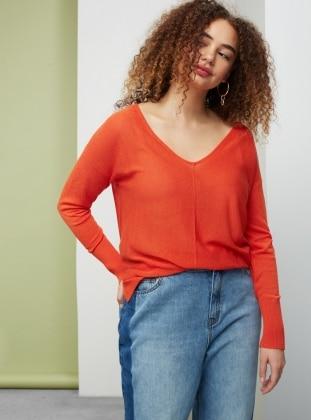 Orange - V neck Collar - Jumper