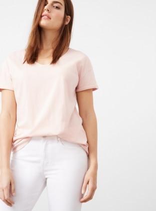 Pink - V neck Collar - Cotton - Tank