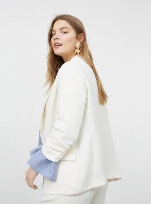 Ecru Plus Size Jackets Shop Womens Plus Size Jackets Modanisa