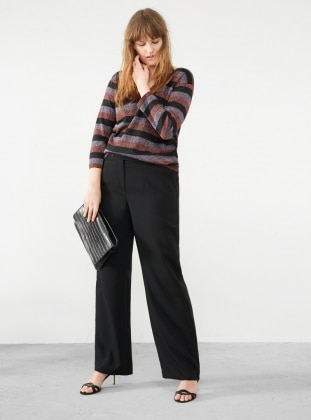 V neck Collar - Stripe - Maroon - Black - Jumper - Violeta by Mango