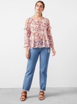Pink - Floral - Crew neck - Plus Size Blouse