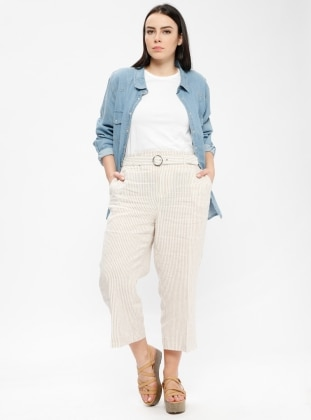 Camel - Stripe - Plus Size Pants