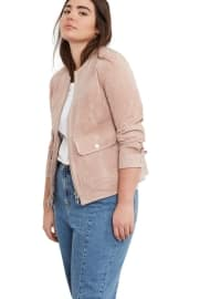 Pink - Fully Lined - Crew neck - Jacket