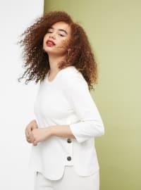 Düğmeli Dökümlü Sweatshirt - Kırık Beyaz - Violeta by Mango