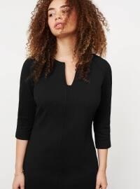 Çizgi Dokumalı Elbise - Siyah - Violeta by Mango